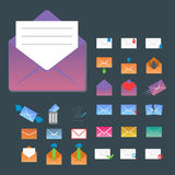 Email envelope cover icons communication and office correspondence blank cover address design paper empty card business Stock Photos