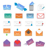 Email envelope cover icons communication and office correspondence blank cover address design paper empty card business Royalty Free Stock Images