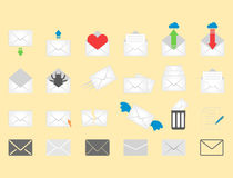 Email envelope cover icons communication and office correspondence blank cover address design paper empty card business Royalty Free Stock Photography