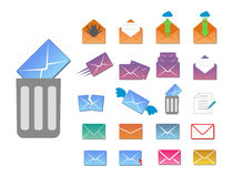 Email envelope cover icons communication and office correspondence blank cover address design paper empty card business Stock Photo