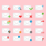 Email envelope cover icons communication and office correspondence blank cover address design paper empty card business Royalty Free Stock Photos