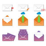 Email envelope cover icons communication and office correspondence blank cover address design paper empty card business Stock Image