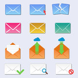 Email envelope cover icons communication and office correspondence blank cover address design paper empty card business Stock Photography