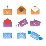 Email envelope cover icons communication and office correspondence blank cover address design paper empty card business Stock Images