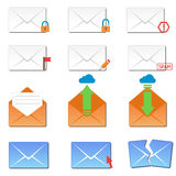 Email envelope cover icons communication and office correspondence blank cover address design paper empty card business Royalty Free Stock Image