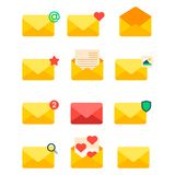 Email envelope cover icons communication correspondence blank cover address design paper empty card writing message. Email envelope cover icons communication set Royalty Free Stock Photo