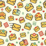 Email envelope cover icons seamless pattern vector set. Royalty Free Stock Photo