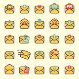 Email envelope cover icons vector set. Stock Image