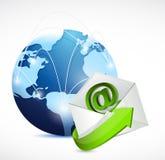 Email envelope globe network. illustration design. Royalty Free Stock Images