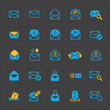 Email and envelope icons on Dark Royalty Free Stock Photo