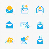 Email and envelope icons on White Background Royalty Free Stock Photography