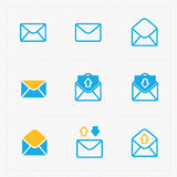 Email and envelope icons on White Background. Royalty Free Stock Photos
