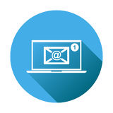 Email envelope message on laptop. Vector illustration in flat st Royalty Free Stock Photos