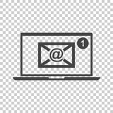 Email envelope message on laptop. Vector illustration in flat st Stock Image