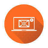 Email envelope message on laptop. Vector illustration in flat st Royalty Free Stock Photo