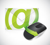 Email envelope and mouse illustration Royalty Free Stock Images