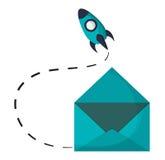 Email envelope open rocket startup Royalty Free Stock Image