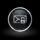 Email envelope padlock icon inside round silver and black emblem Royalty Free Stock Image