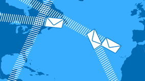 Email Envelopes Flying Around the World stock video