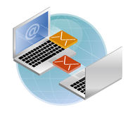 Email exchange. Illustration of email exchange between computers Stock Image