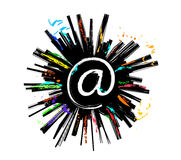 Email explosion sketch colored Stock Photography