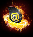 Email on Fire. An illustration of an email envelope on fire Royalty Free Stock Photos