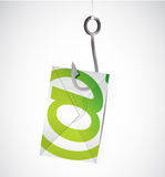 Email and fishing hook. illustration design over Stock Photo
