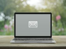 Email flat icon, Business contact us online concept royalty free stock photo