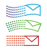 Email flying icons. Email icons in different flying states Royalty Free Stock Photo