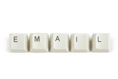 Email från spridda tangentbordtangenter på vit Royaltyfri Foto