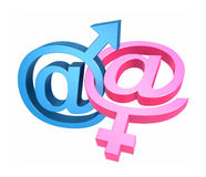Email and gender symbols Stock Photography