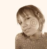 Email girl face. Over the light background (sepia Royalty Free Stock Photos