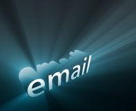 Email glowing. Email internet word graphic, with glowing light effects Royalty Free Stock Images