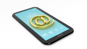Email @ golden symbol on tablet Stock Images