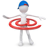 Email. Guy with hula hoop email symbol Stock Illustration