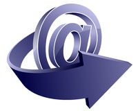Email icon. Glossy email icon with arrow stock illustration