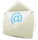 Email Icon. Illustration of an email icon envelope with arobase symbol over white background Royalty Free Stock Image