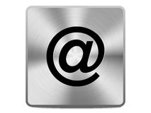 Email icon. On a brushed metal button royalty free illustration