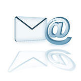 Email icon in 3d. With reflection isolated over white background