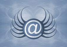 Email Icon. A background with an Email sign - @ with a design resembling spider Stock Photos