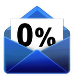 Email icon. Zero percent email icon for internet communication Stock Images