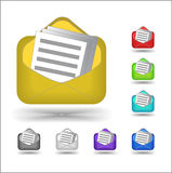 Email icon. Many color icons of email Royalty Free Stock Photo