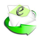 Email Icon with Arrow. Email symbol with green motion arrow Royalty Free Stock Images