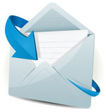 Email Icon With Blue Arrow. Illustration of an email inbox reception icon envelope with blue arrow orbiting around, for contact us and feedback symbols