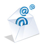Email icon coming out of open envelope Royalty Free Stock Photography
