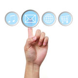Email icon computer touch screen menu and hand. Finger pressing the email icon on a computer touch screen menu Royalty Free Stock Photography