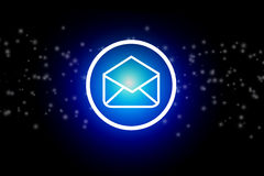 Email icon on a dark abstract background - communication concept. View of an Email icon on a dark abstract background - communication concept Royalty Free Stock Images