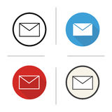 Email icon. Flat design, linear and color styles. Sms message. Envelope. Letter isolated vector illustrations royalty free illustration