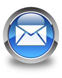 Email icon glossy blue round button Stock Image