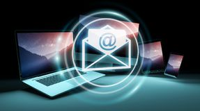 Email icon interface over modern tech devices 3D rendering Stock Photos